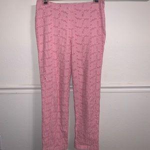Lilly Pulitzer Pink Floral Eyelet Pants.